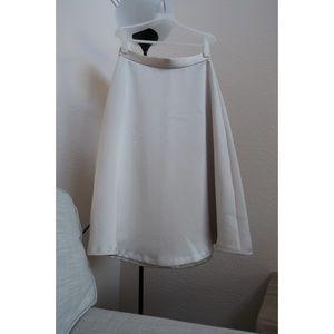 Ann Taylor Satin midi Skirt - White